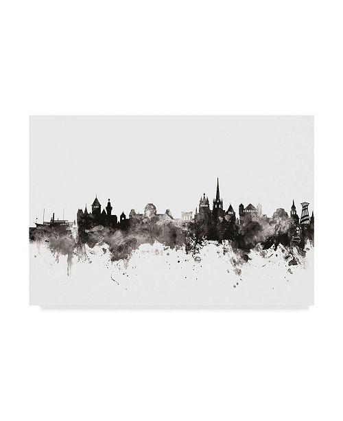 "Trademark Global Michael Tompsett Lausanne Switzerland Skyline Black White Canvas Art - 37"" x 49"""