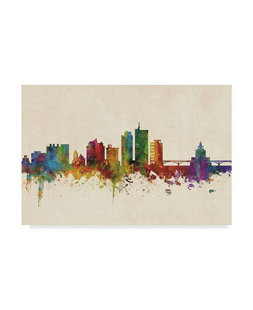"Trademark Global Michael Tompsett Cedar Rapids Iowa Skyline Canvas Art - 37"" x 49"""