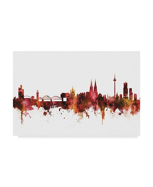 "Trademark Global Michael Tompsett Cologne Germany Skyline Red Canvas Art - 15"" x 20"""