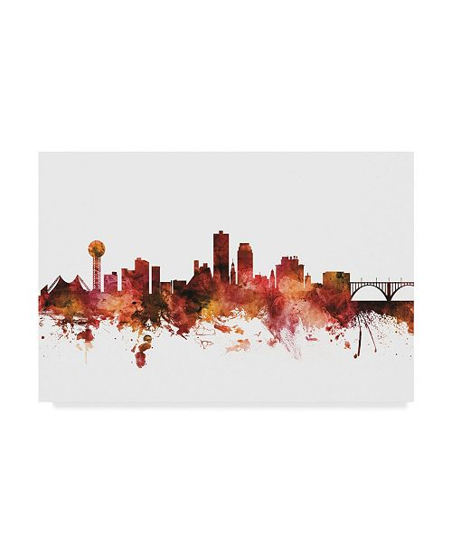 "Trademark Global Michael Tompsett Knoxville Tennessee Skyline Red Canvas Art - 20"" x 25"""