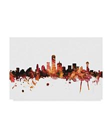 "Michael Tompsett Dallas Texas Skyline Red Canvas Art - 37"" x 49"""