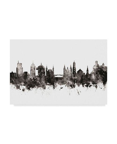 "Trademark Global Michael Tompsett Ljubljana Slovenia Skyline Black White Canvas Art - 20"" x 25"""