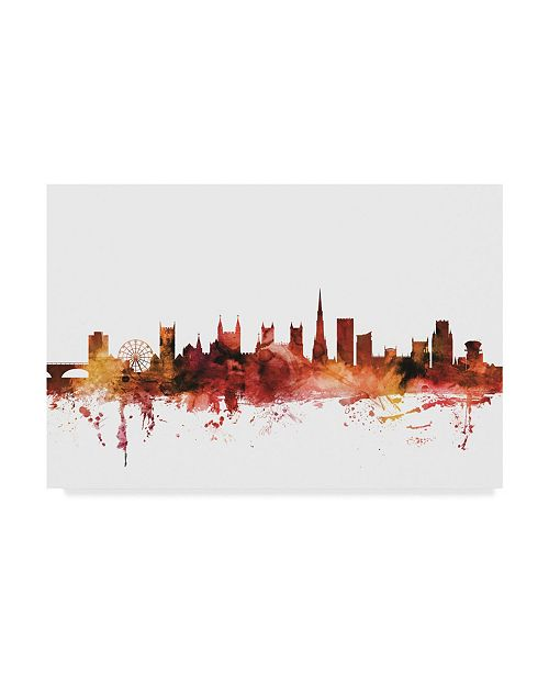 "Trademark Global Michael Tompsett Bristol England Skyline Red Canvas Art - 37"" x 49"""
