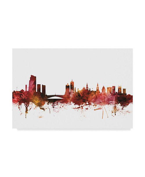 "Trademark Global Michael Tompsett Leeds England Skyline Red Canvas Art - 20"" x 25"""