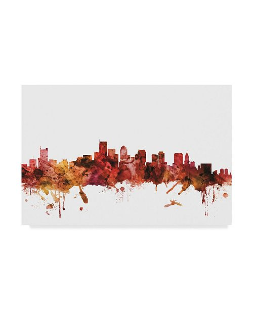 "Trademark Global Michael Tompsett Boston Massachusetts Skyline Red Canvas Art - 20"" x 25"""