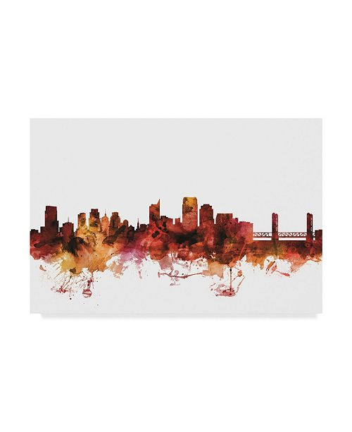 "Trademark Global Michael Tompsett Sacramento California Skyline Red Canvas Art - 37"" x 49"""