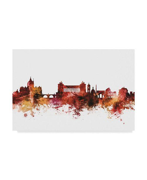 "Trademark Global Michael Tompsett Rome Italy Skyline Red Canvas Art - 37"" x 49"""