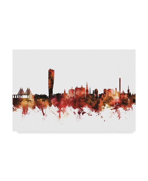 "Trademark Global Michael Tompsett Malmo Sweden Skyline Red Canvas Art - 20"" x 25"""