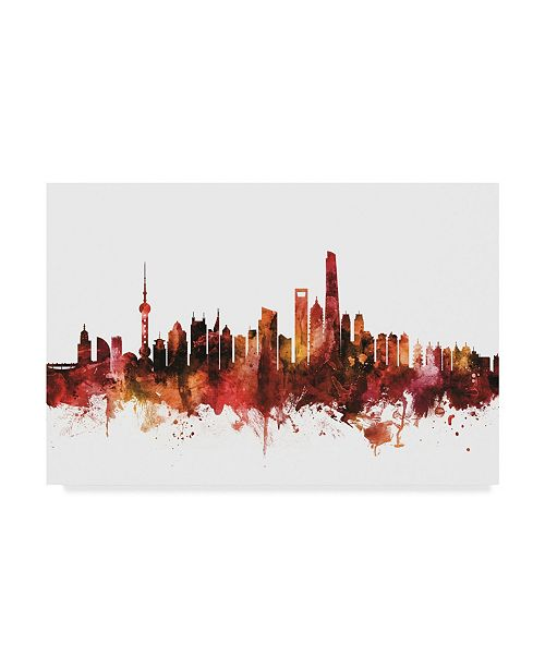 "Trademark Global Michael Tompsett Shanghai China Skyline Red Canvas Art - 37"" x 49"""