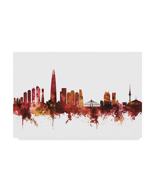 "Trademark Global Michael Tompsett Seoul Skyline South Korea Red Canvas Art - 20"" x 25"""
