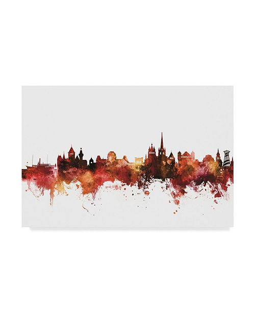 "Trademark Global Michael Tompsett Lausanne Switzerland Skyline Red Canvas Art - 37"" x 49"""