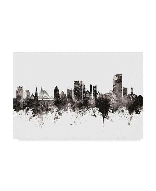 "Trademark Global Michael Tompsett Swansea Wales Skyline Black White Canvas Art - 37"" x 49"""