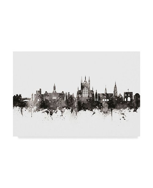 "Trademark Global Michael Tompsett Winchester England Skyline Black White Canvas Art - 37"" x 49"""