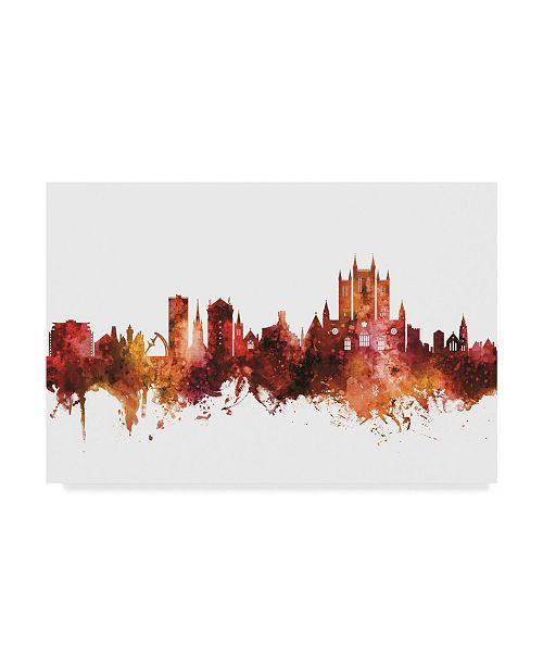 "Trademark Global Michael Tompsett Lincoln England Skyline Red Canvas Art - 37"" x 49"""