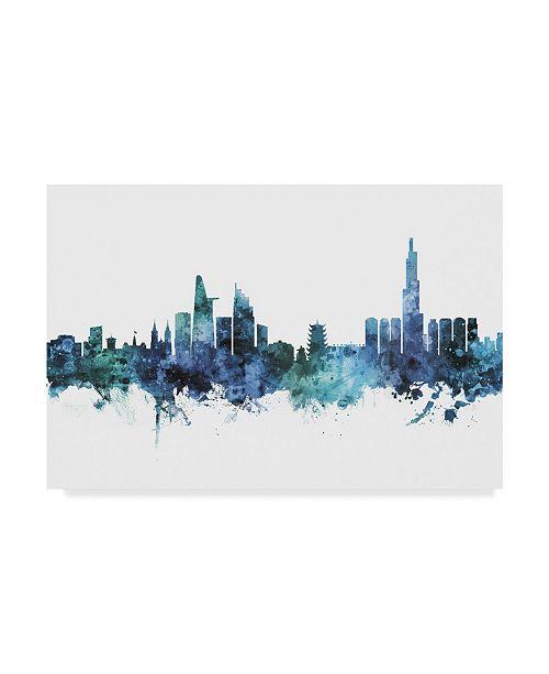 "Trademark Global Michael Tompsett Ho Chi Minh City Vietnam Skyline Blue Canvas Art - 37"" x 49"""