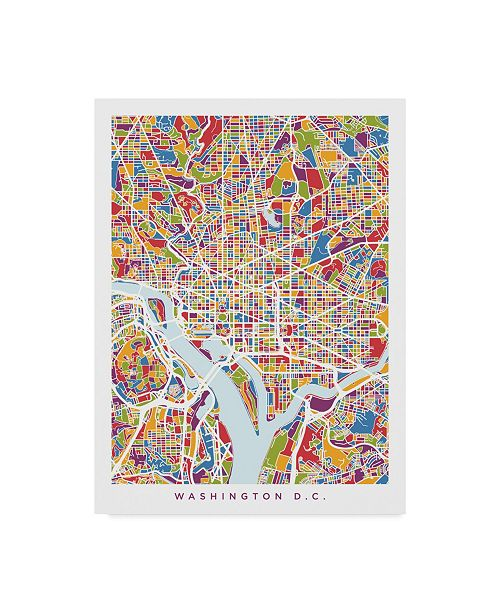 "Trademark Global Michael Tompsett Washington DC Street Map II Canvas Art - 37"" x 49"""