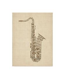 "Michael Tompsett Saxophone Old Sheet Music Canvas Art - 37"" x 49"""