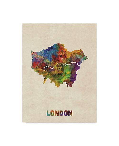 "Trademark Global Michael Tompsett London Watercolor Map II Canvas Art - 37"" x 49"""