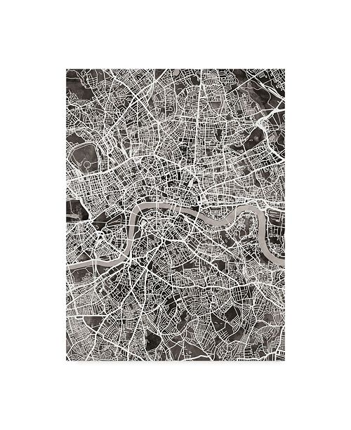 "Trademark Global Michael Tompsett London England Street Map Black Canvas Art - 20"" x 25"""