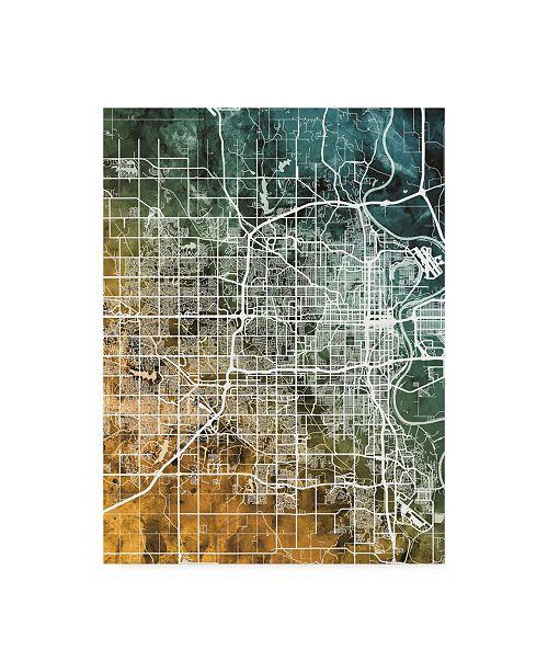 "Trademark Global Michael Tompsett Omaha Nebraska City Map Teal Orange Canvas Art - 37"" x 49"""