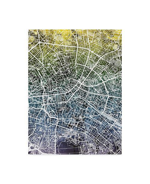 "Trademark Global Michael Tompsett Berlin Germany City Map Blue Yellow Canvas Art - 37"" x 49"""