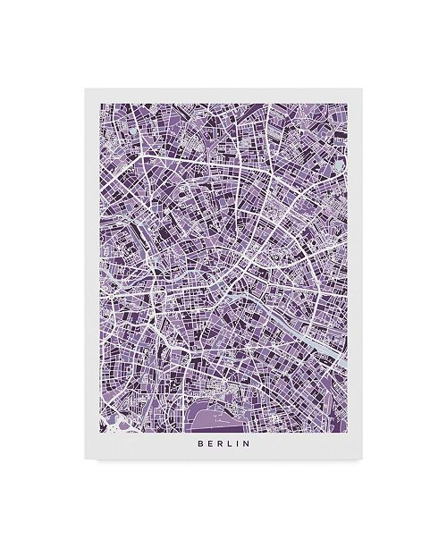 "Trademark Global Michael Tompsett Berlin Germany City Map Purple Canvas Art - 20"" x 25"""