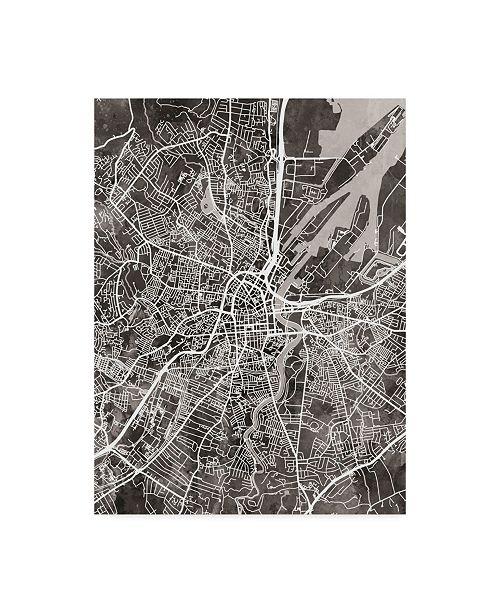 "Trademark Global Michael Tompsett Belfast Northern Ireland City Map Black Canvas Art - 37"" x 49"""