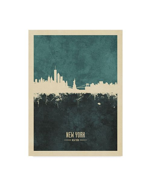 "Trademark Global Michael Tompsett New York Skyline Poster Teal Canvas Art - 37"" x 49"""