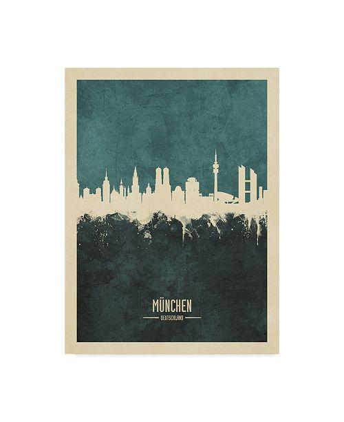 "Trademark Global Michael Tompsett Munich Germany Skyline Teal Canvas Art - 37"" x 49"""