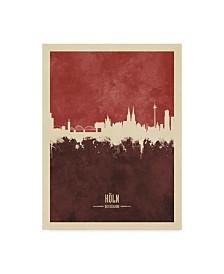 "Michael Tompsett Cologne Germany Skyline Red II Canvas Art - 37"" x 49"""