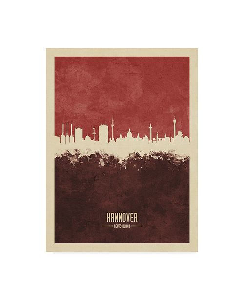 "Trademark Global Michael Tompsett Hannover Germany Skyline Red II Canvas Art - 20"" x 25"""