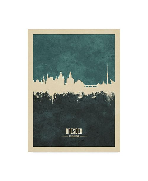"Trademark Global Michael Tompsett Dresden Germany Skyline Teal Canvas Art - 20"" x 25"""