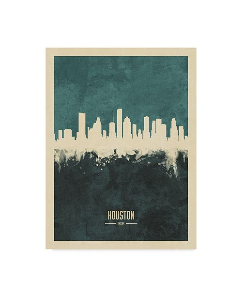 "Trademark Global Michael Tompsett Houston Texas Skyline Teal Canvas Art - 37"" x 49"""