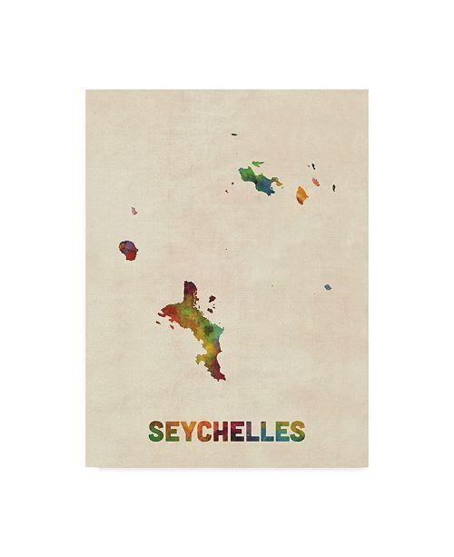 "Trademark Global Michael Tompsett Seychelles Watercolor Map Canvas Art - 37"" x 49"""