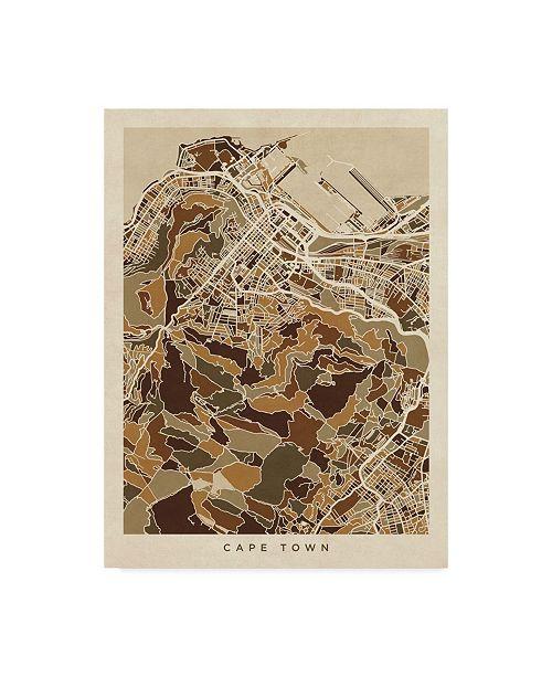 "Trademark Global Michael Tompsett Cape Town South Africa City Street Map Brown Canvas Art - 20"" x 25"""