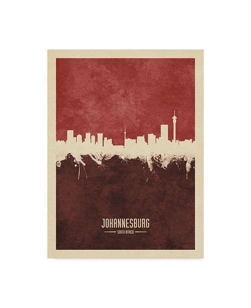 "Trademark Global Michael Tompsett Johannesburg South Africa Skyline Red II Canvas Art - 37"" x 49"""