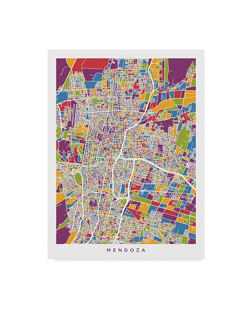 "Trademark Global Michael Tompsett Mendoza Argentina City Street Map Canvas Art - 20"" x 25"""