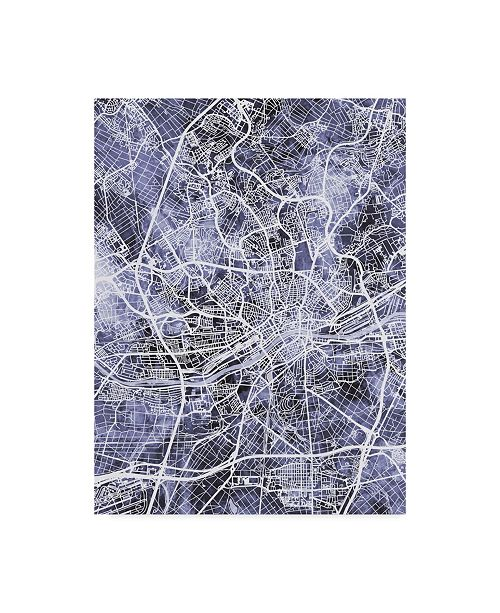 "Trademark Global Michael Tompsett Frankfurt Germany City Map Blue Canvas Art - 37"" x 49"""