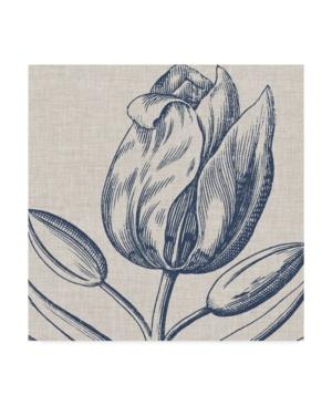 "Trademark Global Vision Studio Indigo Floral On Linen Iv Canvas Art - 15"" X 20"" In Multi"