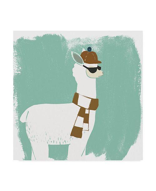 "Trademark Global June Erica Vess Bundle Up Llama IV Canvas Art - 15"" x 20"""