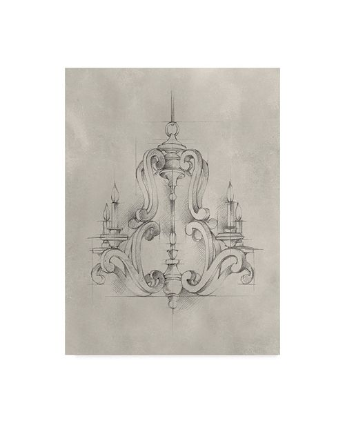 "Trademark Global Ethan Harper Chandelier Schematic II Canvas Art - 20"" x 25"""