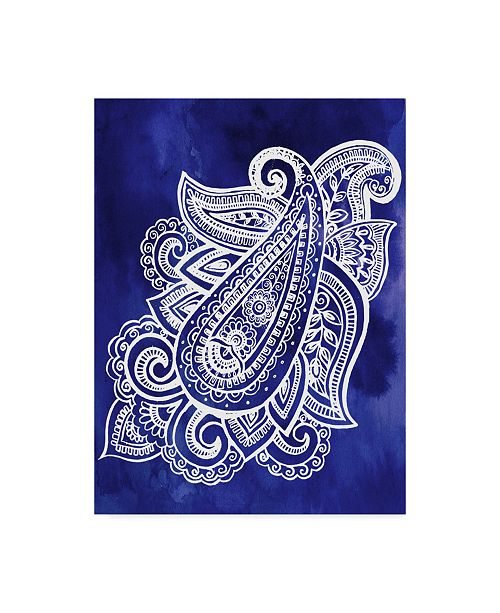 "Trademark Global Jennifer Paxton Parker Indigo Paisley I Canvas Art - 20"" x 25"""