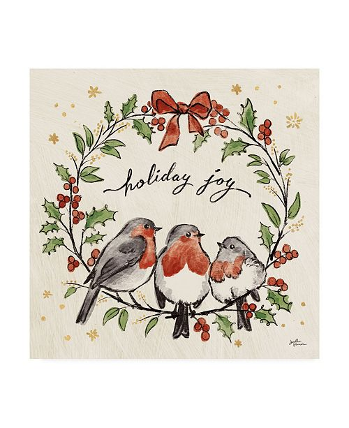 "Trademark Global Janelle Penner Christmas Lovebirds IV Canvas Art - 27"" x 33"""