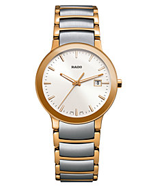 Rado Watch, Women's Swiss Centrix Two-Tone Stainless Steel Bracelet 28mm R30555103