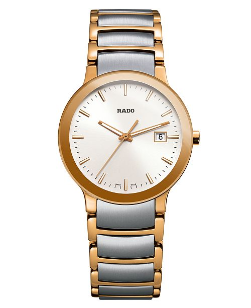 Rado Watch Women S Swiss Centrix Two Tone Stainless Steel Bracelet 28mm R30555103 Reviews All Fine Jewelry Jewelry Watches Macy S