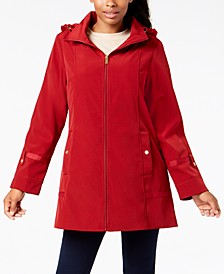 Petite Water Resistant Hooded Raincoat