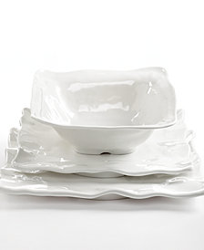 Q Squared Ruffle Square White Melamine Collection
