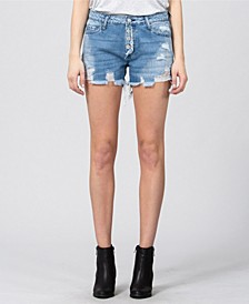 Mid Rise Distressed Button Up Jean Shorts