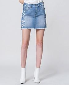 Vervet High Rise Distressed Denim Mini Skirt