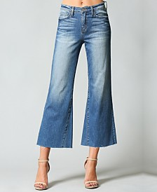 Flying Monkey High Rise Cut Off Wide Crop Flare Jeans
